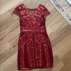 NWOT cocktail dress - red sequins